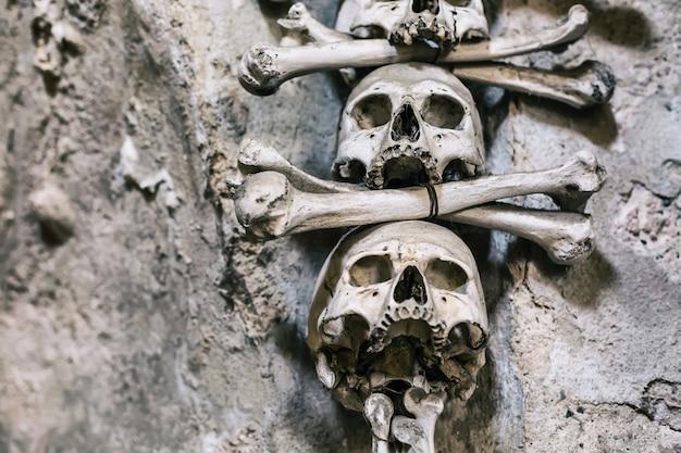 Fine umana della decorazione delle ossa e dei crani su Foto Premium