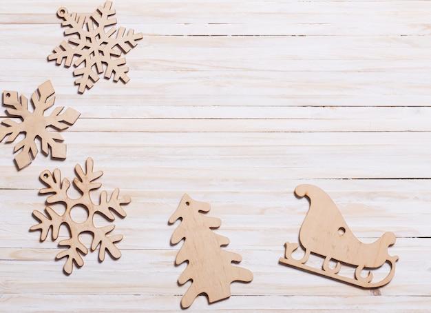 Fiocchi di neve su legno Foto Premium