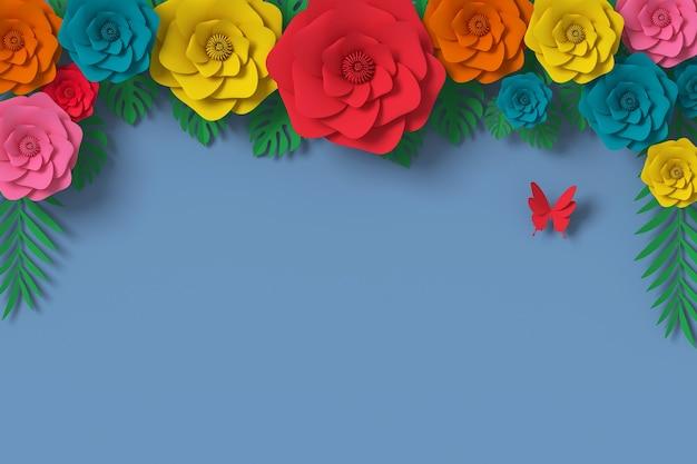 Fiore di carta stile, mestiere di carta floreale, volano di carta farfalla Foto Premium