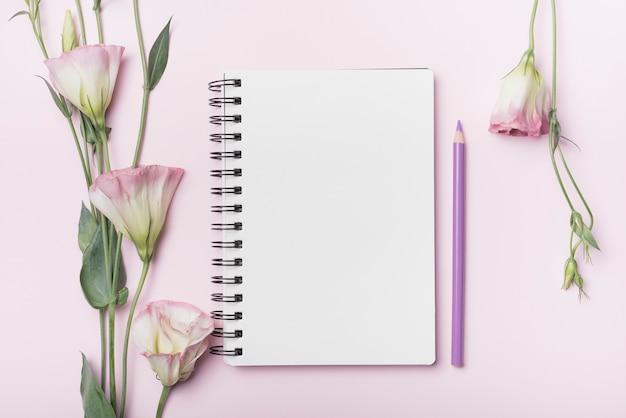 Fiori di eustoma; quaderno a spirale vuota con matita viola su sfondo rosa Foto Gratuite