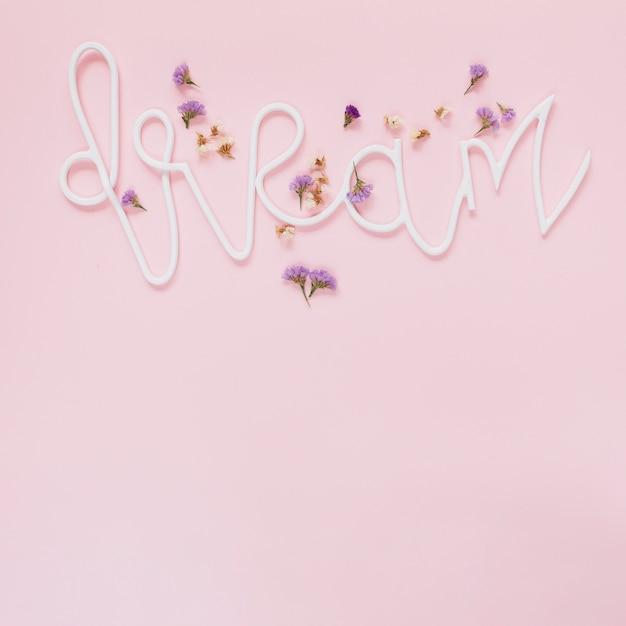 Fiori di lavanda e bianchi sul testo dei sogni su sfondo rosa Foto Gratuite