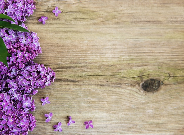 Fiori lilla su un tavolo Foto Premium