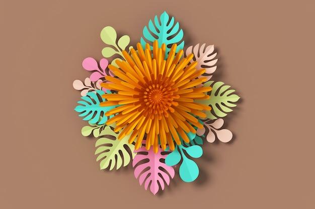 Fiorisca lo stile di carta, il mestiere di carta floreale, la rappresentazione 3d, con il percorso di ritaglio. Foto Premium
