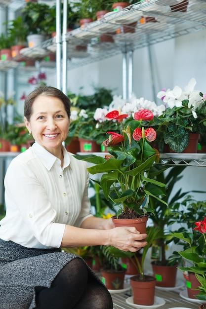 Fiorista femminile con pianta di anthurium Foto Gratuite