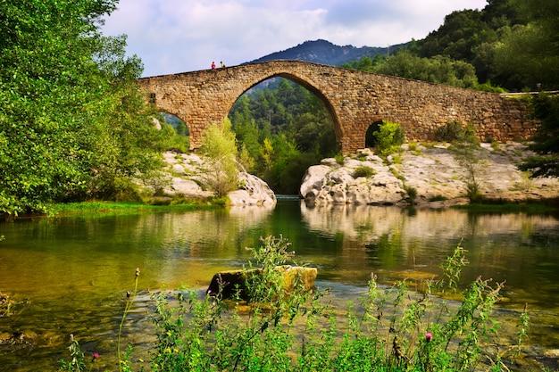 Fiume di montagna con ponte medievale nei pirenei Foto Gratuite