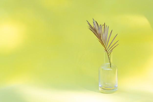 Foglia di palma dorata in vaso di vetro su stile minimal creativo Foto Premium