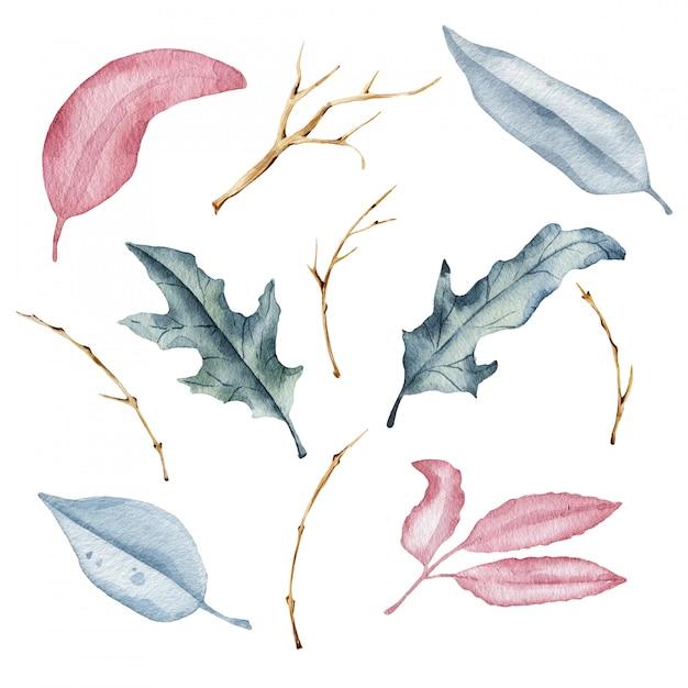Foglie di autunno ad acquerello Foto Premium