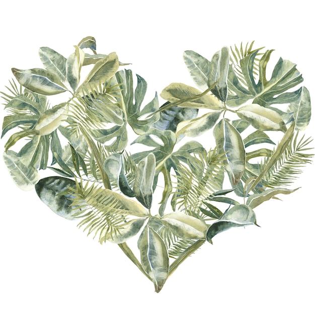 Foglie di palma a forma di cuore. verde polvere, cornice di foglie tropicali. ghirlanda floreale esotica. confine di fiori Foto Premium