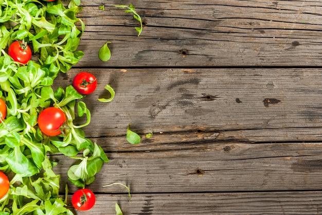 Foglie e pomodori di insalata Foto Premium