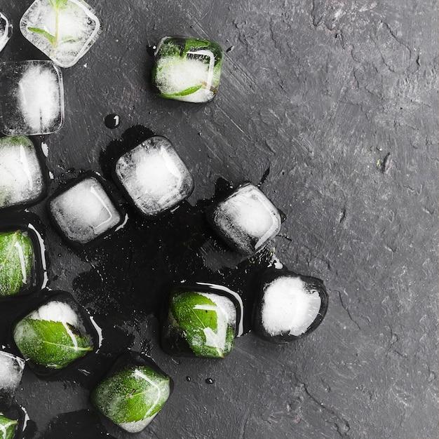 Foglie in cubetti di ghiaccio Foto Gratuite