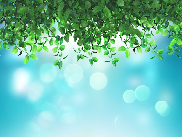 Foglie verdi 3d su uno sfondo blu defocussato Foto Gratuite