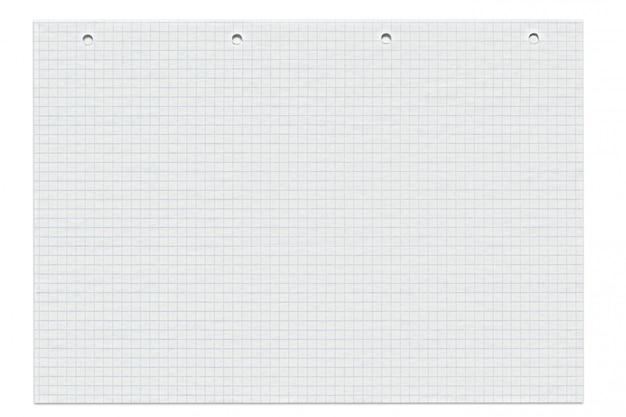 Foglio di carta per appunti foderato con fori isolati su bianco Foto Premium