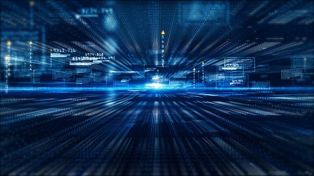 Fondo astratto di informazioni olografiche dell'esposizione digitale di Ciao-tecnologia Foto Premium