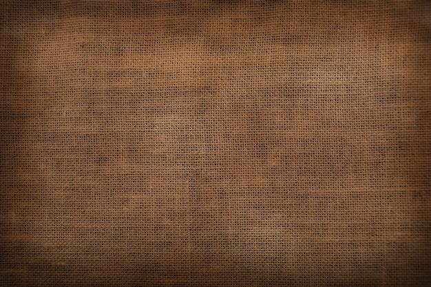 Fondo d'annata rustico del vecchio tessuto di sacco della pianura di vista superiore Foto Premium