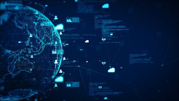 Fondo dell'estratto di concetto di dati e di comunicazione della rete di tecnologia digitale. elemento terrestre fornito dalla nasa Foto Premium