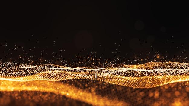 Fondo dell'estratto di flusso dell'onda di colore dell'oro delle particelle di digital Foto Premium