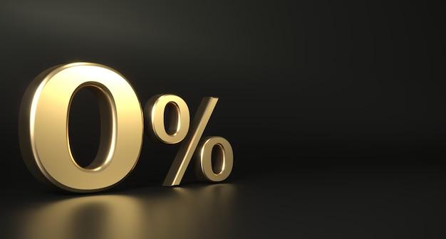 Fondo dorato di zero per cento zero del segno dorato Foto Premium