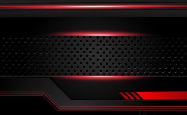 Fondo nero rosso metallico astratto di concetto dell'innovazione di tecnologia di progettazione della disposizione della struttura Foto Premium