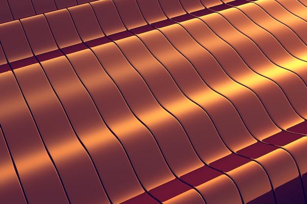 Fondo ondulato della costruzione del metallo dorato Foto Premium