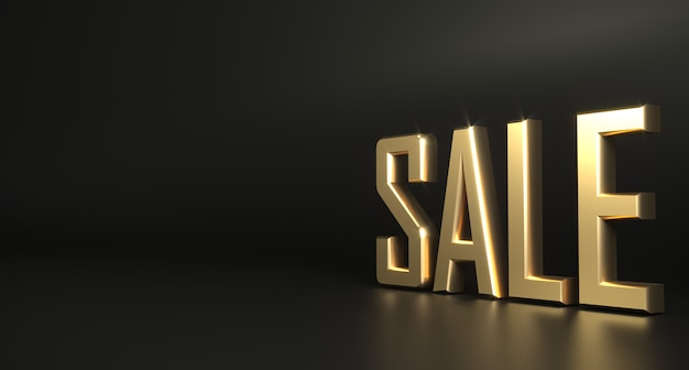 Fondo scuro di vendita dell'oro di parola 3d Foto Premium