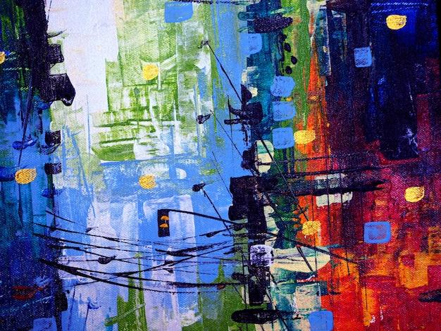 Fondo variopinto e struttura dell'estratto di paesaggio urbano della pittura a olio. Foto Premium