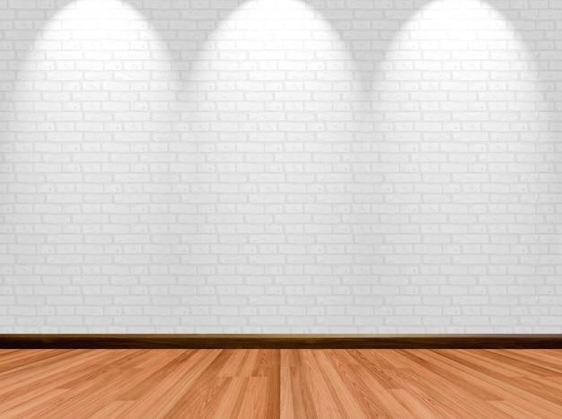 Fondo vuoto della stanza con il muro di mattoni e il riflettore di legno del pavimento. Foto Premium