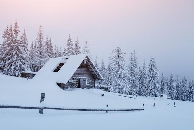 Foresta innevata nei carpazi. una piccola casa di legno accogliente coperta di neve. il concetto di pace e ricreazione invernale in montagna. felice anno nuovo Foto Gratuite