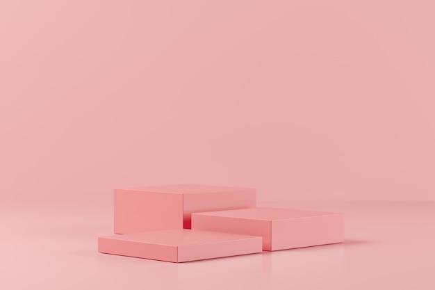 Forma astratta della geometria di colore rosa su fondo rosa, podio minimo per il prodotto, rappresentazione 3d Foto Premium