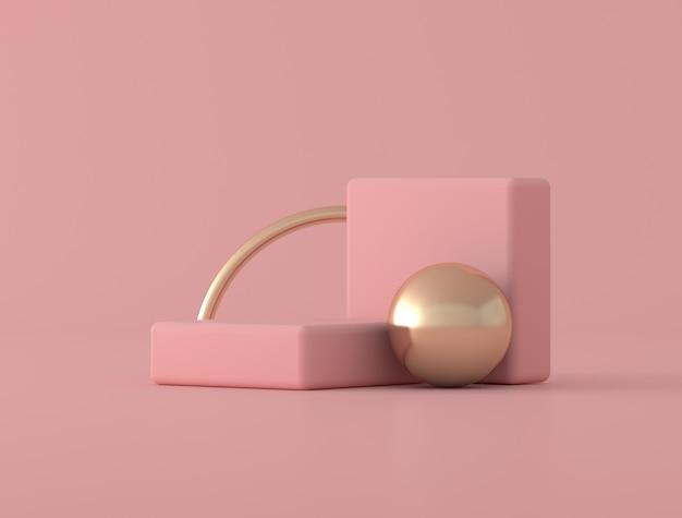 Forma geometrica astratta, anello dorato su fondo rosa, colori pastelli, stile minimo, rappresentazione 3d Foto Premium