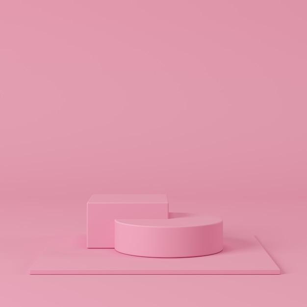 Forma geometrica astratta di colore pastello, display podio per prodotto. concetto minimale. sfondo di rendering 3d. Foto Premium
