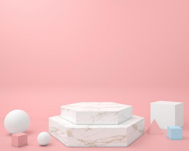 Forma geometrica astratta modello di colore pastello minimal stile moderno muro, per tavolo espositore podio stand Foto Premium
