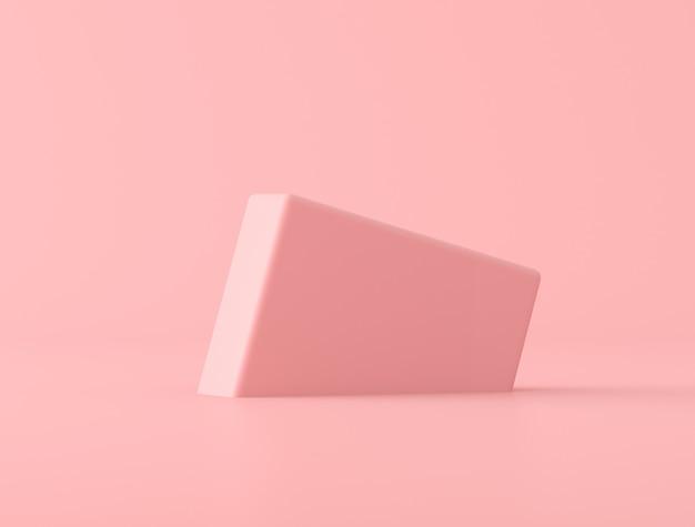 Forma geometrica astratta su fondo rosa, colori pastelli, stile minimo, rappresentazione 3d Foto Premium