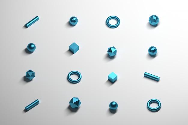 Forme primitive poligonali distribuite uniformemente con una trama blu metallizzata sulla superficie riflettente bianca. Foto Premium