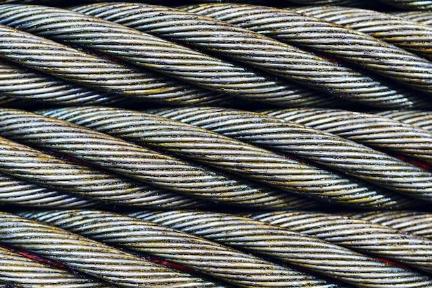 Foto del primo piano del cavo d'acciaio. Foto Premium