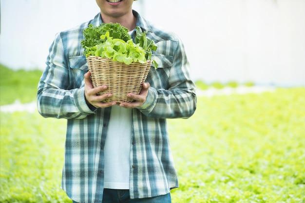 Foto del ritratto di giovane canestro asiatico della tenuta della mano dell'uomo di lattuga verde che raccoglie l'insalata della verdura fresca dalla sua fattoria di coltura idroponica in serra Foto Premium