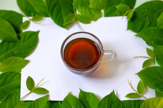 Foto orizzontale con autunno, foglie verdi e una tazza di tè nero su uno sfondo bianco Foto Premium