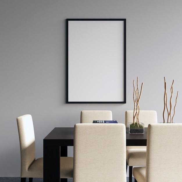 Frame mockup sulla sala da pranzo Foto Premium