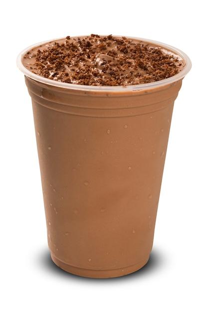 Frappè al cioccolato isolato su sfondo bianco Foto Premium