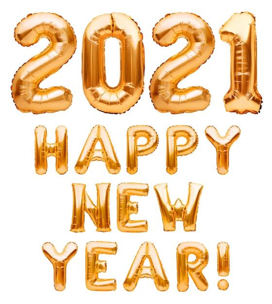 Frase del buon anno 2021 fatta dei palloni gonfiabili dorati isolati su bianco. palloncini di elio che formano le congratulazioni del buon anno 2021, decorazione della celebrazione della lamina. Foto Premium