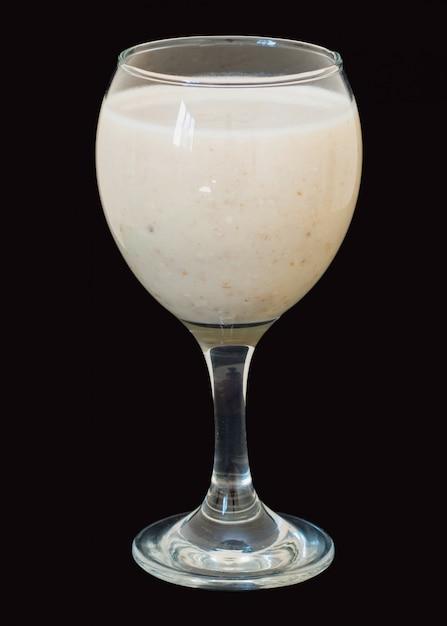 Frullati con latte, banana e fiocchi d'avena Foto Premium