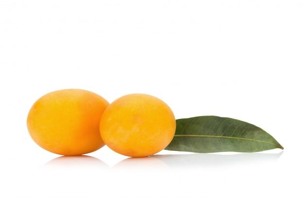 Frutta tailandese della prugna mariana isolata. mayongchid. maprang. marian plum. plum mango Foto Premium