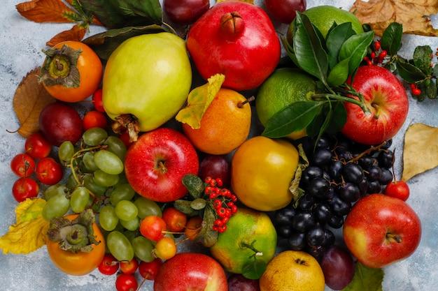 Frutto autunnale frutti di stagione autunnali del ringraziamento, vista dall'alto Foto Premium