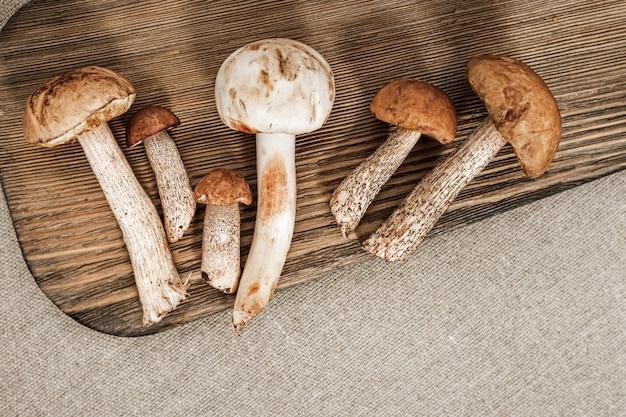 Funghi commestibili della varia foresta su fondo di legno Foto Premium