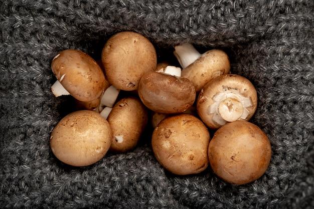 Funghi in una scatola a maglia grigia Foto Gratuite