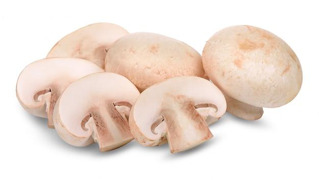 Fungo del fungo prataiolo isolato sul percorso di ritaglio bianco Foto Premium