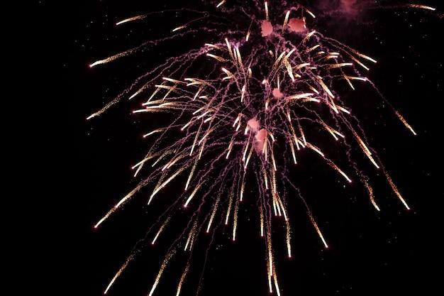 Fuochi d'artificio colorati sul cielo nero profondo sul festival dei fuochi d'artificio Foto Premium