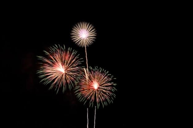 Fuochi d'artificio colorati sullo sfondo del cielo nero con spazio libero per il testo Foto Premium
