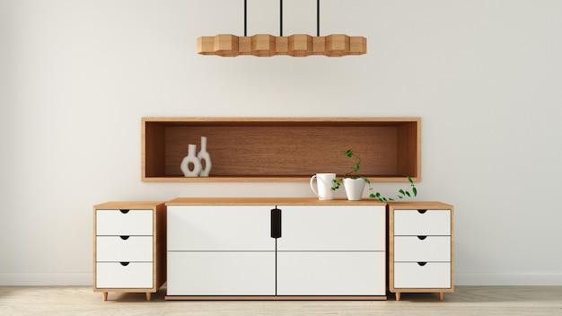 Gabinetto nella moderna stanza vuota stile giapponese, design minimale. rendering 3d Foto Premium