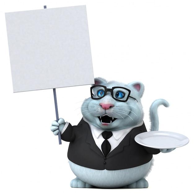 Gatto divertente - illustrazione 3d Foto Premium