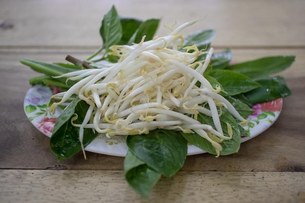 Germogli di fagioli come contorno di thai noodle. Foto Premium